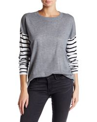 French Connection - Roundneck Striped Sleeve Sweater - Lyst