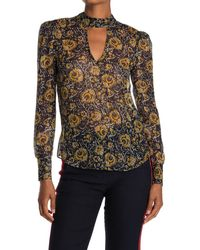 Veronica Beard Wade Floral Metallic Cutout Blouse - Multicolor