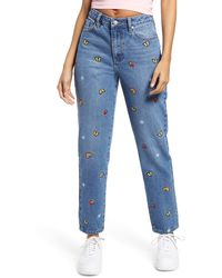 BP. Mixed Embroidery Mom Jeans - Blue