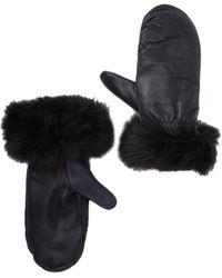 UGG Carry Forward Genuine Skeepskin Trimmed Leather Tech Mittens - Black