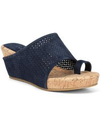 Donald J Pliner Gent Wide Banded Wedge Sandal - Blue