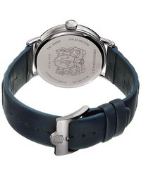 Bruno Magli Men's Alex 1361 Grooved Stitched Italian Leather Strap Watch - Blue