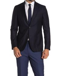Strong Suit Navy Solid Two Button Peak Lapel Wool Sport Coat - Blue