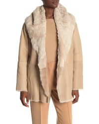 Vince Genuine Shearling Cardigan Coat - Natural