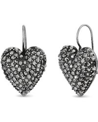 Steve Madden - Pave Rhinestone Heart Drop Earrings - Lyst