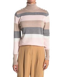 Joseph A Striped Knit Turtleneck Sweater - Pink