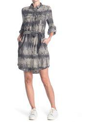Velvet Heart Ada Chambray Waist Tie Utility Dress - Gray