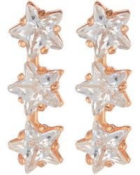 Argento Vivo - 18k Rose Gold Plated Sterling Silver Triple Star Cz Stud Earrings - Lyst