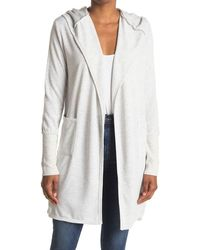 Sweet Romeo Hooded Open Front Long Cardigan - Gray