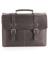 """Kenneth Cole Reaction Colombian Leather Double Gusset Flapover 13"""" Computer Portfolio Bag - Brown"""
