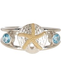 Liberty - 14k Yellow Gold & Sterling Silver Blue Topaz Sand Dollar Ring - Lyst
