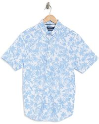 Nautica Printed Stretch Fit Woven Shirt - Blue