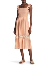 Lush Smocked Top Midi Dress - Multicolor