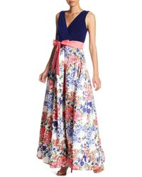 Chetta B - Floral Mixed Media Maxi Dress - Lyst