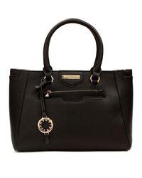 Suzy Levian Saffiano Faux Leather Satchel Handbag - Black