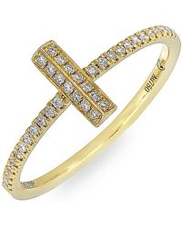 Bony Levy - 18k Yellow Gold Diamond Small Bar Stack Ring - 0.15 Ctw - Lyst