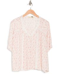 Everleigh Lace Trim V-neck Blouse - Pink