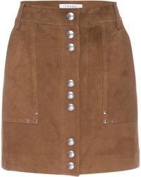 FRAME Studded Suede A-line Mini Skirt - Brown
