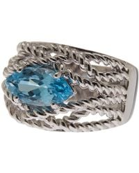 Liberty - Sterling Silver Marquise Blue Topaz Rope Texture Ring - Lyst