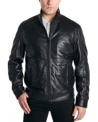 Perry Ellis Leather Moto Jacket - Black