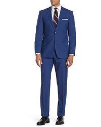 Vince Camuto Bright Blue Plaid Two Button Notch Lapel Slim Fit Suit