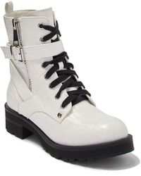 MIA Marcell Alligator Embossed Lace-up Combat Boot - White