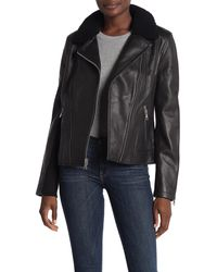 UGG Andee Leather Cycle Genuine Shearling Trim Moto Jacket - Black