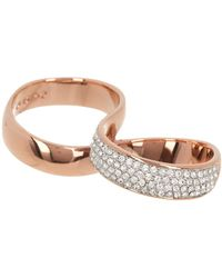 Swarovski Rose Gold-plated Crystal Pave Infinity Double Finger Ring - Size 6 - Metallic