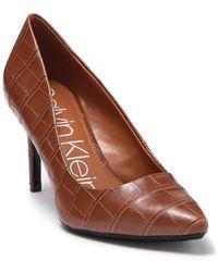 Calvin Klein Kamara Croc Embossed Pump - Brown