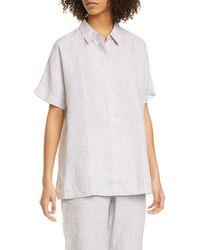 Eileen Fisher Classic Collar Linen Shirt - White