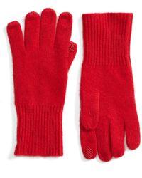 Halogen - Rib Knit Cashmere Gloves - Lyst