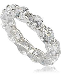 Suzy Levian Sterling Silver Cubic Zirconia Round U-shape Eternity Band - White