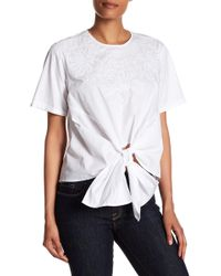 Lea & Viola - Embroidered Tie Front Poplin Blouse - Lyst