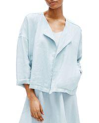 Eileen Fisher - Heavy Organic Linen Drape Front Jacket - Lyst