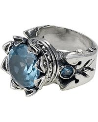 King Baby Studio Sterling Silver Light Blue Cz Crown Ring