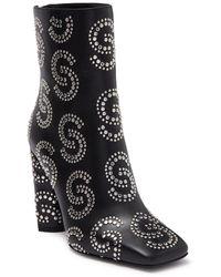 Roberto Cavalli Square Toe Studded Block Heel Boot - Black