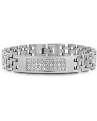 Steve Madden Crystal Pave Id Link Bracelet - Metallic
