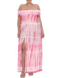 Boho Me Off-the-shoulder Tie Dye Print Maxi Dress - Pink