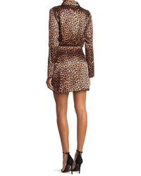 Likely Emilia Leopard Satin Ruched Mini Shirt Dress - Brown