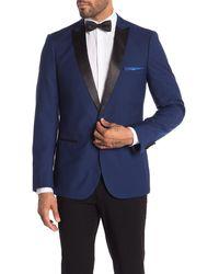 Paisley and Gray Grosvenor Blue One Button Peak Lapel Slim Fit Tuxedo Jacket