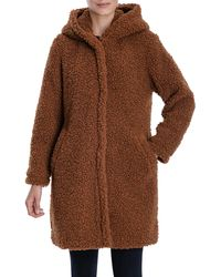 Lucky Brand Hooded Faux Teddy Fur Coat - Brown