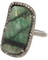 Adornia Sasha Silver Dark Emerald Diamond Ring - 0.04 Ctw - Green