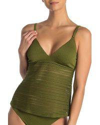 Robin Piccone Perla Crochet Lace Tankini Top - Green