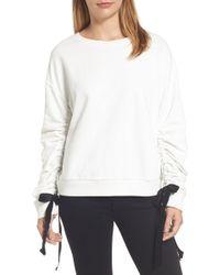 Halogen - Ruched Tie Sleeve Sweatshirt (regular & Petite) - Lyst