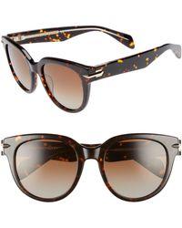 Rag & Bone Polarized 54mm Round Sunglasses - Brown
