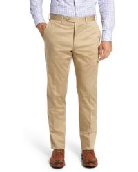 JB Britches - Flat Front Solid Stretch Cotton Trousers - Lyst