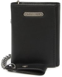 Guess Leather Chain Trifold Wallet - Black