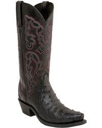 Lucchese - Genuine Goatskin Leather Black Western Boot - Lyst