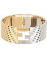 Fendi - Two-tone Logo Hinge Bracelet - Lyst