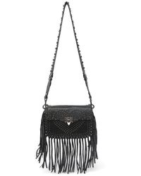 Valentino - Studded Leather Fringe Shoulder Bag In Nero At Nordstrom Rack - Lyst